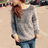 Autumn Winter Women Sweater Warm Mohair O Neck Women Pullover Long Sleeve Casual Loose Sweater Knitted Tops-Dollar Bargains Online Shopping Australia
