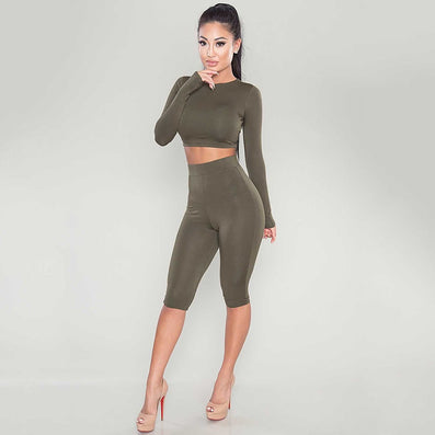 New Winter Women Two Piece Bodycon Jumpsuit Knee Length Long Sleeve Black Playsuit Sexy Club Elegant Rompers And Jumpsuits-Dollar Bargains Online Shopping Australia