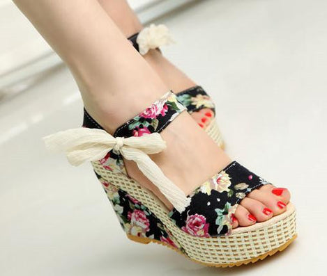 d9d48cd726eb Fashion Women Sandals Summer Wedges Women s Sandals Platform Lace Belt Bow  Flip Flops open toe high