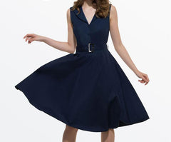 Sisjuly 50s 60s Women Vintage Dresses Summer Elegant Dress Sleeveless Party Dresses dark blue style a line rockabilly dress-Dollar Bargains Online Shopping Australia