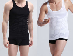 Men Slimming Slim Vest Shirt Corset Body Shaper Fatty Black White Underwear Stretchy Shapewear Tops Vests Firm Belly Girdle-Dollar Bargains Online Shopping Australia