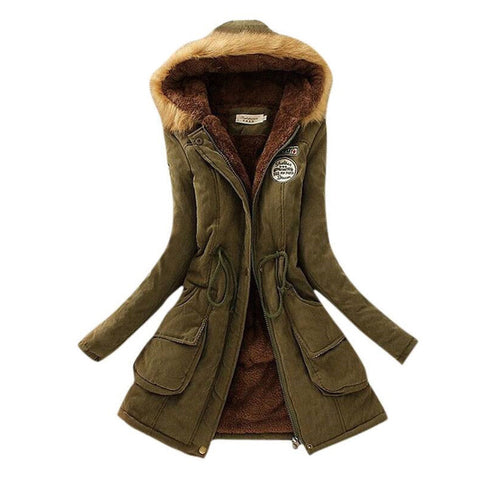 MICHLEY Thickening Warm Fur Collar Winter Coat New 2016 Women Clothes Lamb Wool Jacket Hooded Parka Army Green Overcoat Top198 - Dollar Bargains - 1