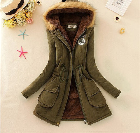 MICHLEY Thickening Warm Fur Collar Winter Coat New 2016 Women Clothes Lamb Wool Jacket Hooded Parka Army Green Overcoat Top198 - Dollar Bargains - 8