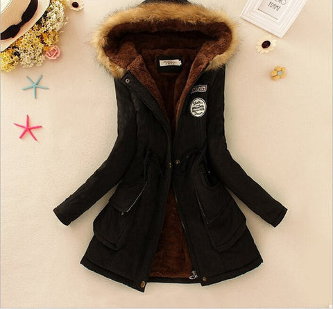 MICHLEY Thickening Warm Fur Collar Winter Coat New 2016 Women Clothes Lamb Wool Jacket Hooded Parka Army Green Overcoat Top198 - Dollar Bargains - 9