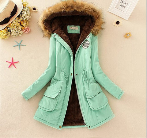 MICHLEY Thickening Warm Fur Collar Winter Coat New 2016 Women Clothes Lamb Wool Jacket Hooded Parka Army Green Overcoat Top198 - Dollar Bargains - 5