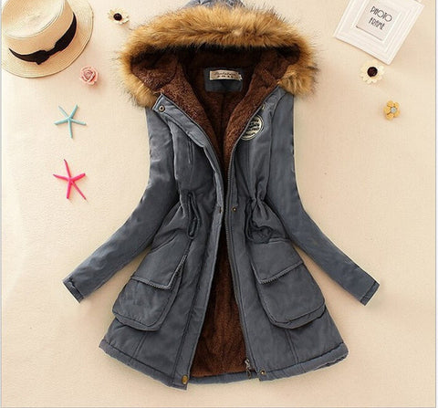 MICHLEY Thickening Warm Fur Collar Winter Coat New 2016 Women Clothes Lamb Wool Jacket Hooded Parka Army Green Overcoat Top198 - Dollar Bargains - 6