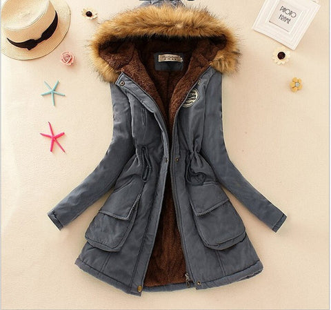 MICHLEY Thickening Warm Fur Collar Winter Coat New 2016 Women Clothes Lamb Wool Jacket Hooded Parka Army Green Overcoat Top198 - Dollar Bargains - 2