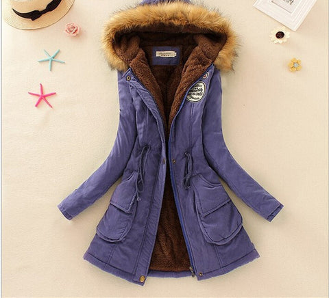 MICHLEY Thickening Warm Fur Collar Winter Coat New 2016 Women Clothes Lamb Wool Jacket Hooded Parka Army Green Overcoat Top198 - Dollar Bargains - 4