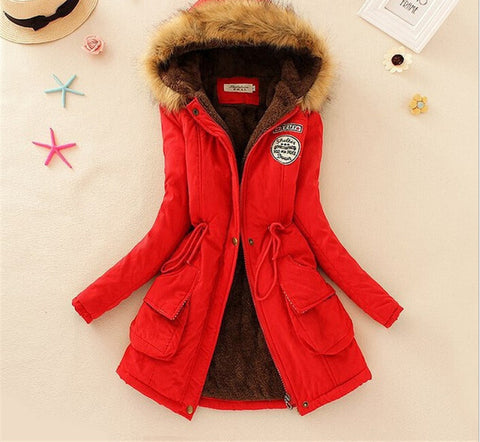 MICHLEY Thickening Warm Fur Collar Winter Coat New 2016 Women Clothes Lamb Wool Jacket Hooded Parka Army Green Overcoat Top198 - Dollar Bargains - 3