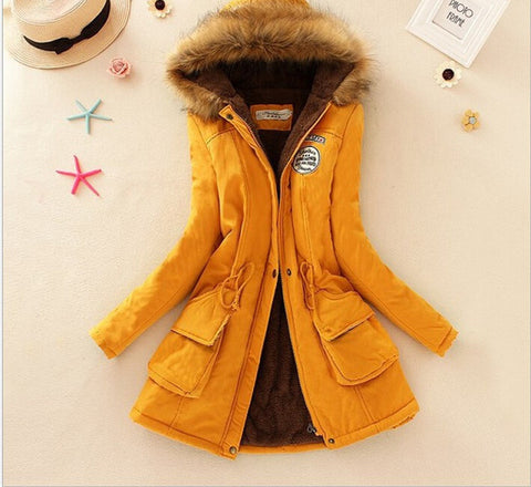 MICHLEY Thickening Warm Fur Collar Winter Coat New 2016 Women Clothes Lamb Wool Jacket Hooded Parka Army Green Overcoat Top198 - Dollar Bargains - 12