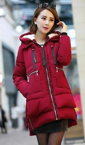 New 2016 Winter Women Wadded Jacket Red Female Outerwear Plus Size 5XL Thickening Casual Down Cotton Wadded Coat Women Parkas - Dollar Bargains - 7