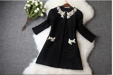 High quality women ladies autumn winter fashion hollow out embroidery british style trench coat designer runway coat-Dollar Bargains Online Shopping Australia