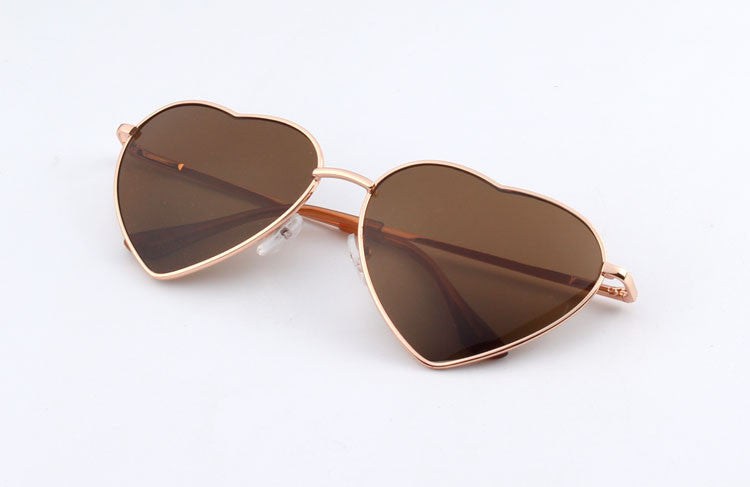 11Heart Shaped Sunglasses WOMEN metal Reflective LENES Fashion sun GLASSES MEN Mirror