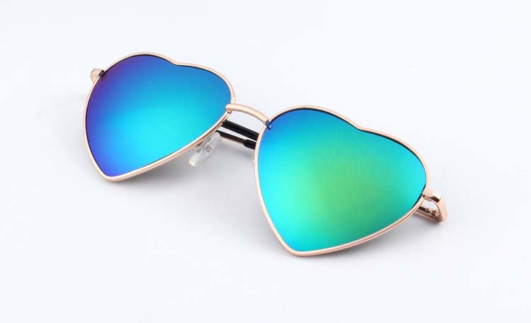 13Heart Shaped Sunglasses WOMEN metal Reflective LENES Fashion sun GLASSES MEN Mirror