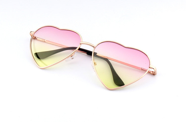 14Heart Shaped Sunglasses WOMEN metal Reflective LENES Fashion sun GLASSES MEN Mirror