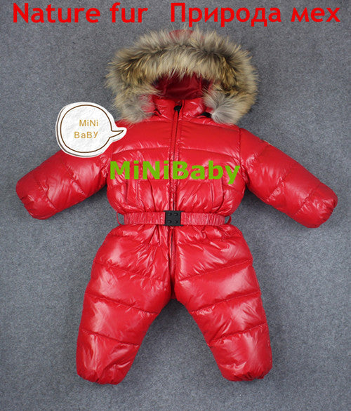 red nature fur / 7-9 monthsbaby girl jumpsuits Russia winter baby clothing , winter coats snow wear duck down jacket ,snowsuits for kids boys girls