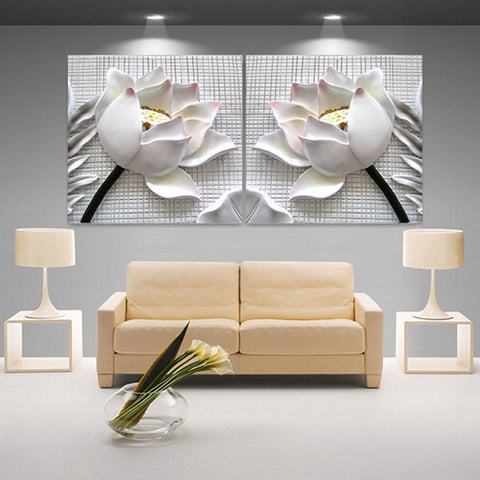 modern 3D white lotus definition pictures canvas Home Decoration living room Wall modular painting Print cuadros(no frame)2pcs-Dollar Bargains Online Shopping Australia
