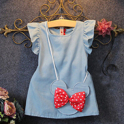 Baby Toddlers Kids Girl Solid Dress Minnie Mouse Sleeveless Bag Ruffles Demin Casual Dresses 1-5Y-Dollar Bargains Online Shopping Australia