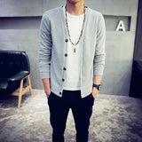 British style Men's fashion casual single breasted decorated knit cardigan coat /male silm solid color cardigan sweater-Dollar Bargains Online Shopping Australia
