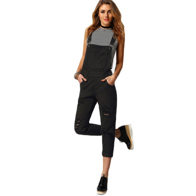 Women Jumpsuit Denim Overalls Spring Autumn Black Strap Ripped Pockets Full Length Denim Jeans Jumpsuit-Dollar Bargains Online Shopping Australia