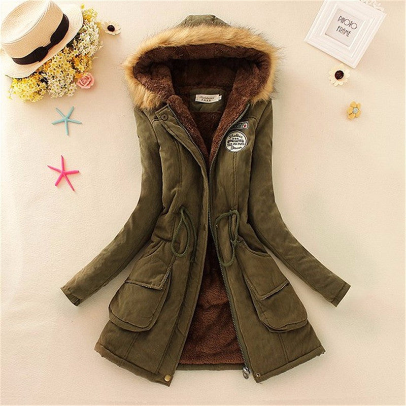 Women Coat 2016 Winter Parka Casual Outwear Military Hooded Coat Winter Jacket Women Padded Coats Woman Clothes FZ037 - Dollar Bargains - 3