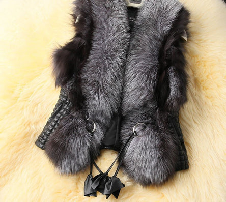Plus Size Black Autumn Spring and Winter High Imitation Faux Fox Fur Vest Gilet Outerwear Women's Coat OLA Free Shipping - Dollar Bargains - 2