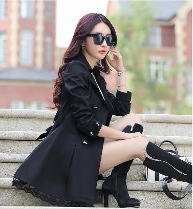 2016 fashion female spring slim trench coat / women's lace lap style solid colour  double breasted long coat / Slim windbreaker - Dollar Bargains - 5