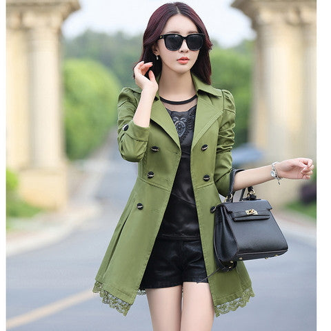 2016 fashion female spring slim trench coat / women's lace lap style solid colour  double breasted long coat / Slim windbreaker - Dollar Bargains - 4