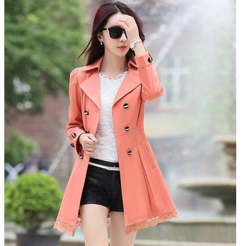 2016 fashion female spring slim trench coat / women's lace lap style solid colour  double breasted long coat / Slim windbreaker - Dollar Bargains - 6