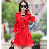 2016 fashion female spring slim trench coat / women's lace lap style solid colour  double breasted long coat / Slim windbreaker - Dollar Bargains - 3
