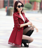 2016 fashion female spring slim trench coat / women's lace lap style solid colour  double breasted long coat / Slim windbreaker - Dollar Bargains - 2