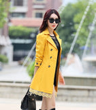 2016 fashion female spring slim trench coat / women's lace lap style solid colour  double breasted long coat / Slim windbreaker - Dollar Bargains - 7