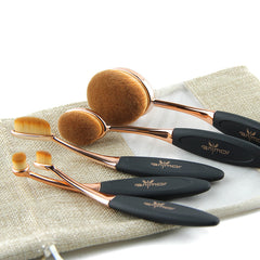 Rose Gold 10 pcs/5 pcs Tooth Brush Shape Oval Makeup Brush Set MULTIPURPOSE Professional Foundation Powder Brush Kit with Bag-Dollar Bargains Online Shopping Australia