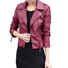 Spring Autumn Women Leather Jacket Oblique Zipper Motorcycle Trendy Casual Faux Leather Coat WWP109-Dollar Bargains Online Shopping Australia