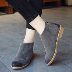 Fashion Wipe Color Vintage Women Ankle Boots Zipper Motorcycle Flat Leather Shoes For Women Casual Rubber Shoes For Girls-Dollar Bargains Online Shopping Australia