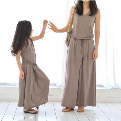 family matching clothing pure color dress summer clothes for mother daughter couple looking casual cotton dress-Dollar Bargains Online Shopping Australia