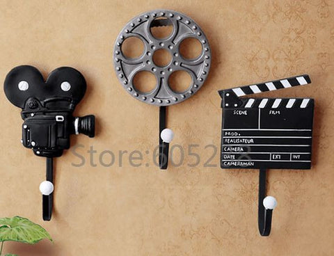 3 Pieces/Set Movie Music Maker Styles Resin Hooks Wall Mounted Film Equipment Design Metal Storage Hooks-Dollar Bargains Online Shopping Australia