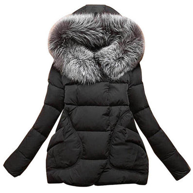 Winter Women Jackets Cotton Full Sleeve Covered button with pocketswomen Hat with Feathers Ultra Light Down Jacket A023-Dollar Bargains Online Shopping Australia