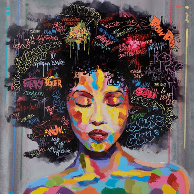 New Unframed Graffiti Street Wall Art Abstract Modern African Women Portrait Canvas Oil Painting On Prints For Living Room-Dollar Bargains Online Shopping Australia