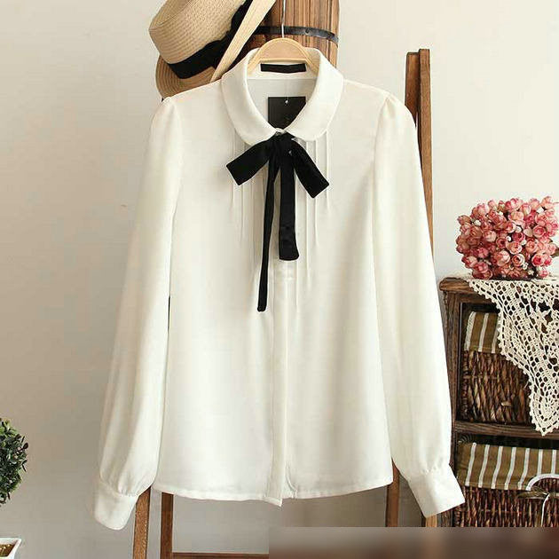 3b54fe18827 Fashion female elegant bow tie white blouses Chiffon peter pan collar  casual shirt Ladies tops school