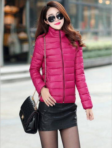 Winter Jacket Coat Women 2016 New Winter Women Parka Short Slim Thickening Down Cotton-padded Jacket Female Outerwear Black Red - Dollar Bargains - 2