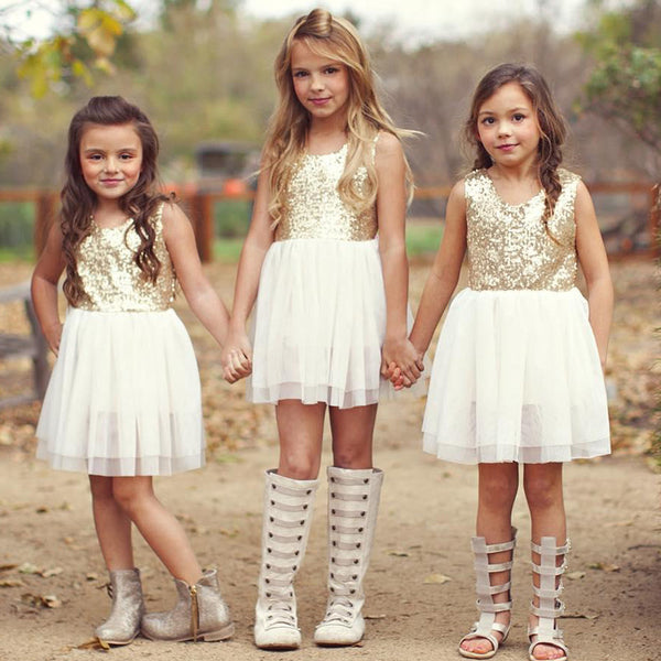 743c337ff3c42 Sequins Baby Flower Girl Dress Bow Heart Hollow Out Back Party Gown Formal  Bridesmaid Pleated Dress