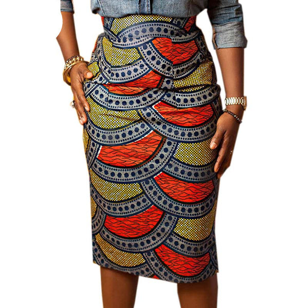 76a3af8eb8a Pencil skirt women Summer Style Multicolor Skirts Ladies African Print Skirt  High Waist Knee-Length