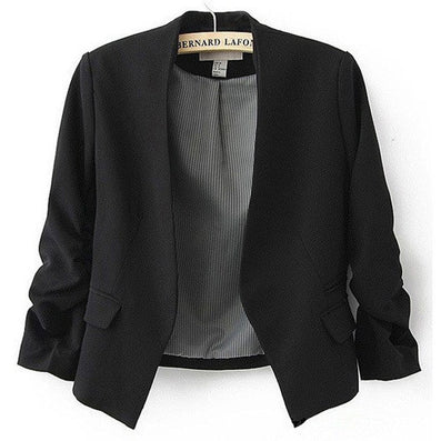 Blazer Women Candy Color Female Blazer Women Jacket 3/4 Sleeve Pockets None Button Woman Slim Short Suit Jacket Blazer Feminino - Dollar Bargains - 5