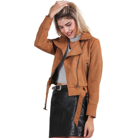 Simplee Apparel Zipper basic suede jacket coat 2016 motorcycle leather jacket Women outwear Pink belted short winter jackets - Dollar Bargains - 1
