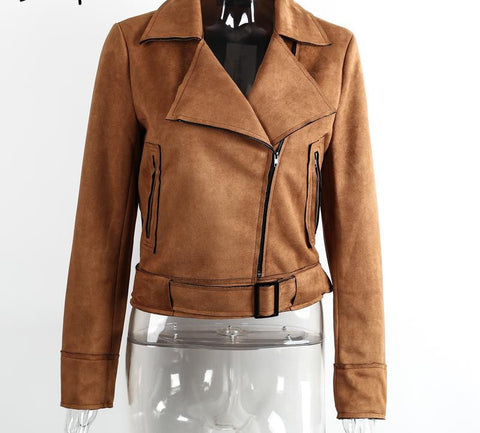 Simplee Apparel Zipper basic suede jacket coat 2016 motorcycle leather jacket Women outwear Pink belted short winter jackets - Dollar Bargains - 3
