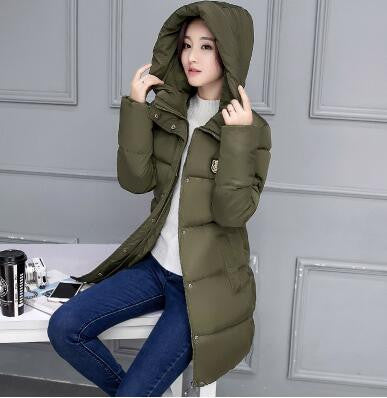 686ad9b176d73 Winter Women Coat Elegant Pure color Thick Warm Hooded Down Cotton Jacket  High quality Large size