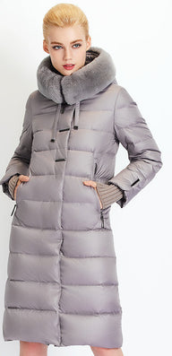 Women Down Coat Jacket Medium Length Woman Down Parka with a Rabbit Fur Winter Coat Women MIEGOFCE Winter Collection-Dollar Bargains Online Shopping Australia