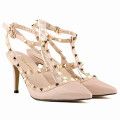 Women Pumps Ladies Sexy Pointed Toe High Heels Fashion Buckle Studded Stiletto High Heel Sandals Shoes-Dollar Bargains Online Shopping Australia