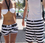2014 new fashion beach shorts for women and men Black and white stripes shorts  K464 ,free shipping - Dollar Bargains - 1